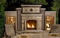 Fireplace in patio
