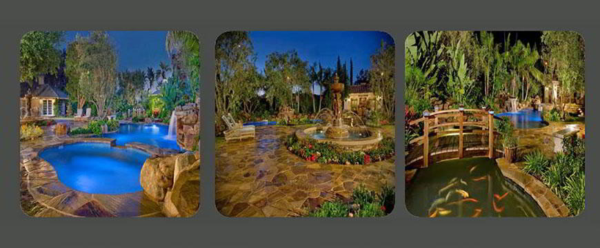 Some of the challenges we faced with this project: The blending of the masonry elements of stone decking, natural stone coping, natural stacked stone fireplace, and water fountain feature; the designing of the covered patio area with full bar seating and complete audio, video, and television entertainment; and the designing of the wood bridge over the koi pond.