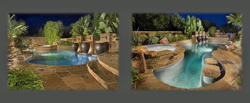 Pool and spa coping and decking is natural stone blended with artificial rock formations and a one of a kind three extra large urns and stone water feature with custom fountains. Matching brick out door kitchen featuring barbecue, refrigerator, sink and granite toped bar. Unique in water tables for in pool entertainment. Truly a back yard paradise.