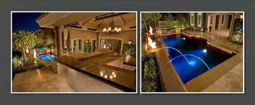 Accenting the pool and spa is custom poured coping coupled with travertine decking creating an elegance that is unmatched. The pool and spa has an Eco-pool In-floor Circulatory System, a Clear 03® Ozone System by Paramount, Eco Select(tm) equipment by Pentair. It is always a challenge taking a custom design and converting the designer's concept into a real life project using water, fire, and masonry.