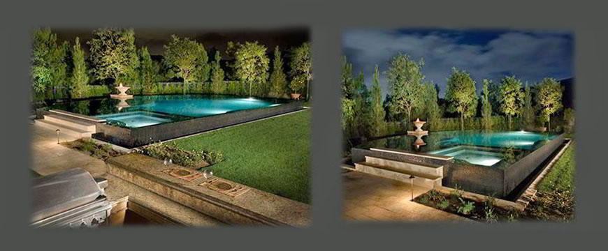 The design of the raised zero-edge construction holding us to very stringent size and shape tolerances made this pool one of the most challenging ever. The theme of this project was with out doubt the eye-catching beauty of the zero-edge visual.